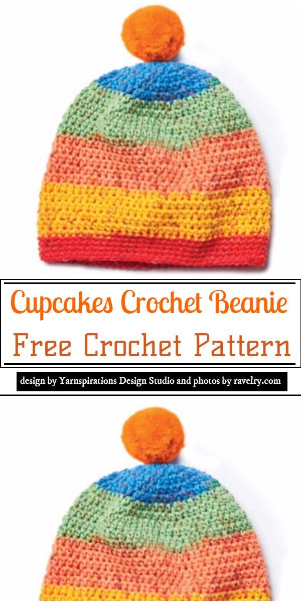 Cupcakes Crochet Beanie Crochet Pattern