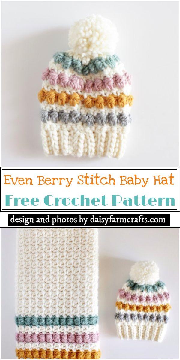 Even Berry Stitch Baby Hat Crochet Pattern