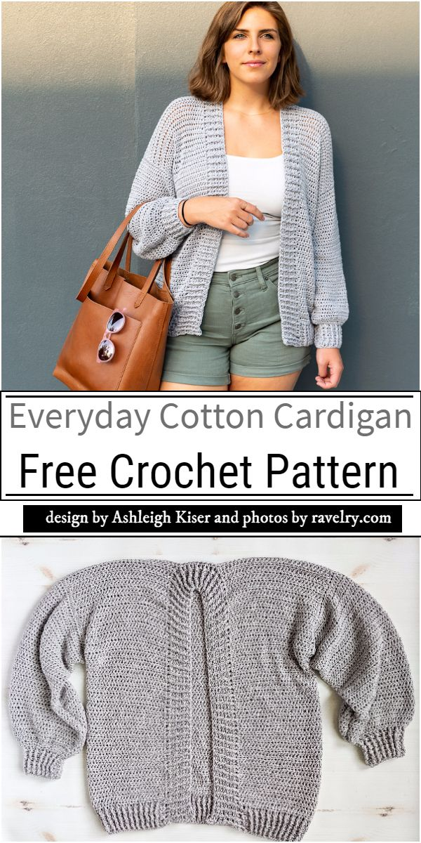 Everyday Cotton Cardigan Crochet Pattern