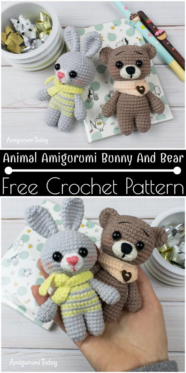 Free Crochet Animal Amigurumi Bunny And Bear Pattern