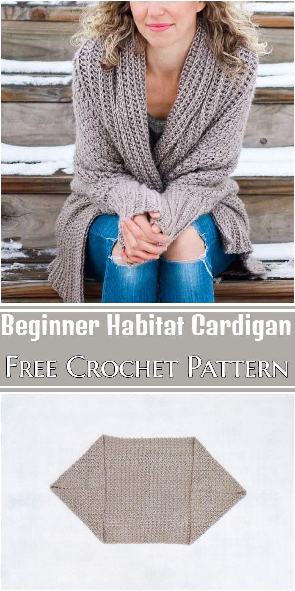 Free Crochet Beginner Habitat Cardigan Pattern
