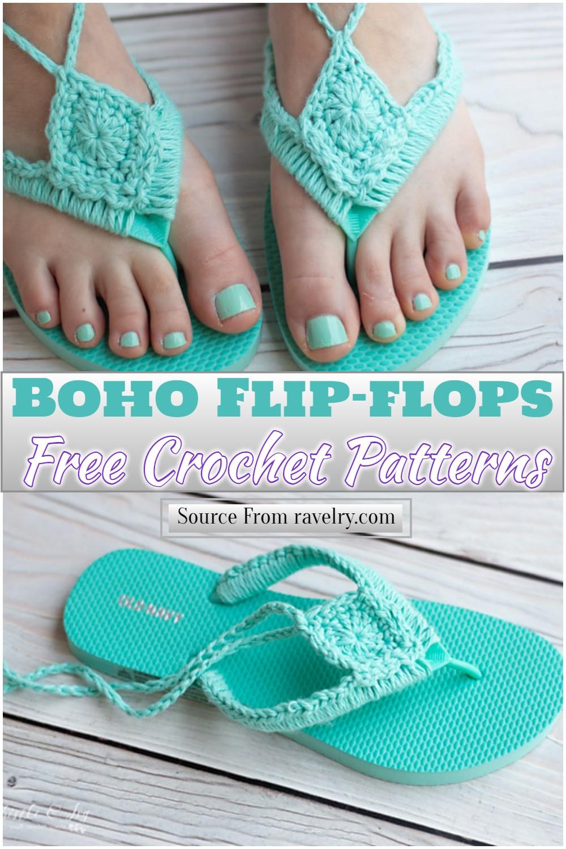 Free Crochet Boho Flip-flops Pattern