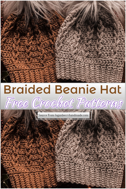 Free Crochet Braided Beanie Hat Pattern
