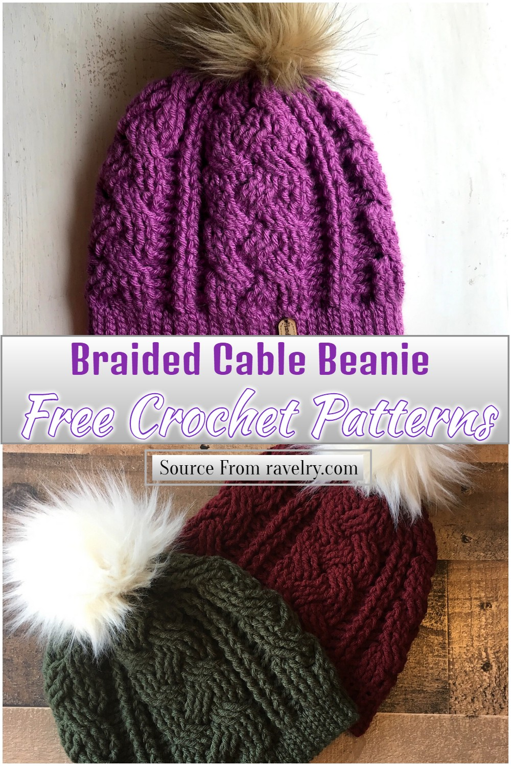 Free Crochet Braided Cable Beanie Pattern