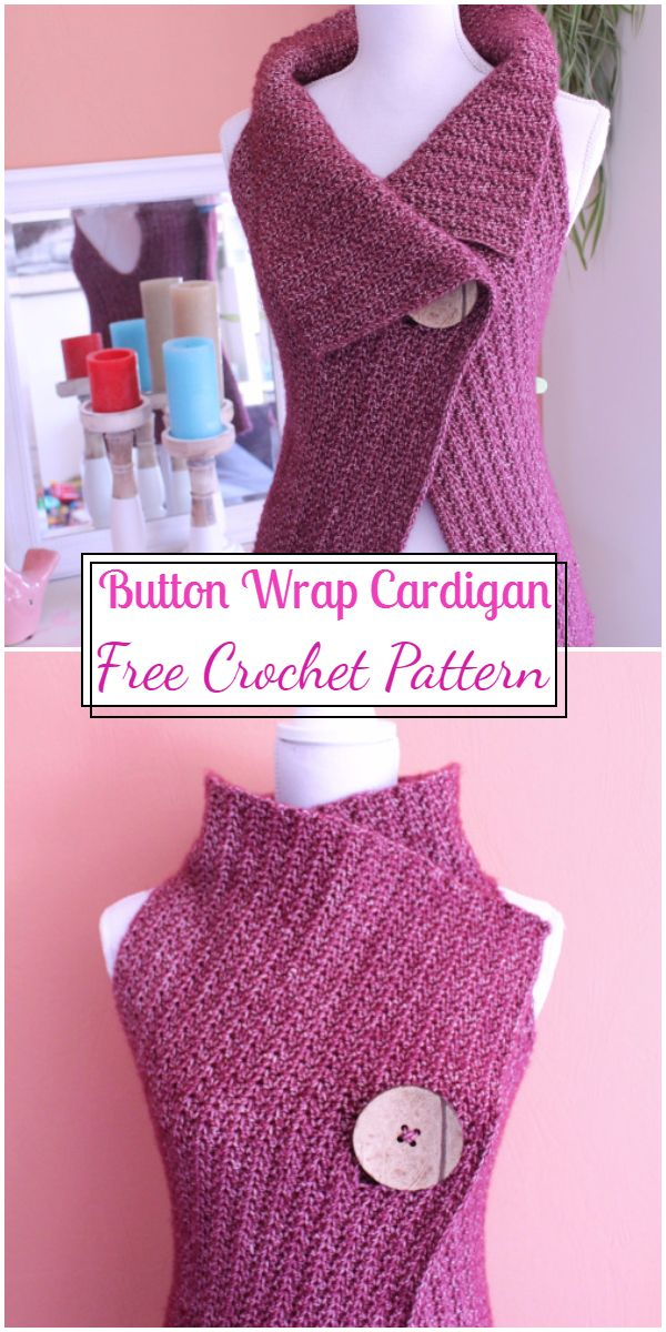 Free Crochet Button Wrap Cardigan Pattern
