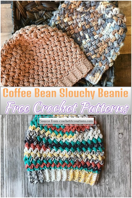 Free Crochet Coffee Bean Slouchy Beanie Pattern