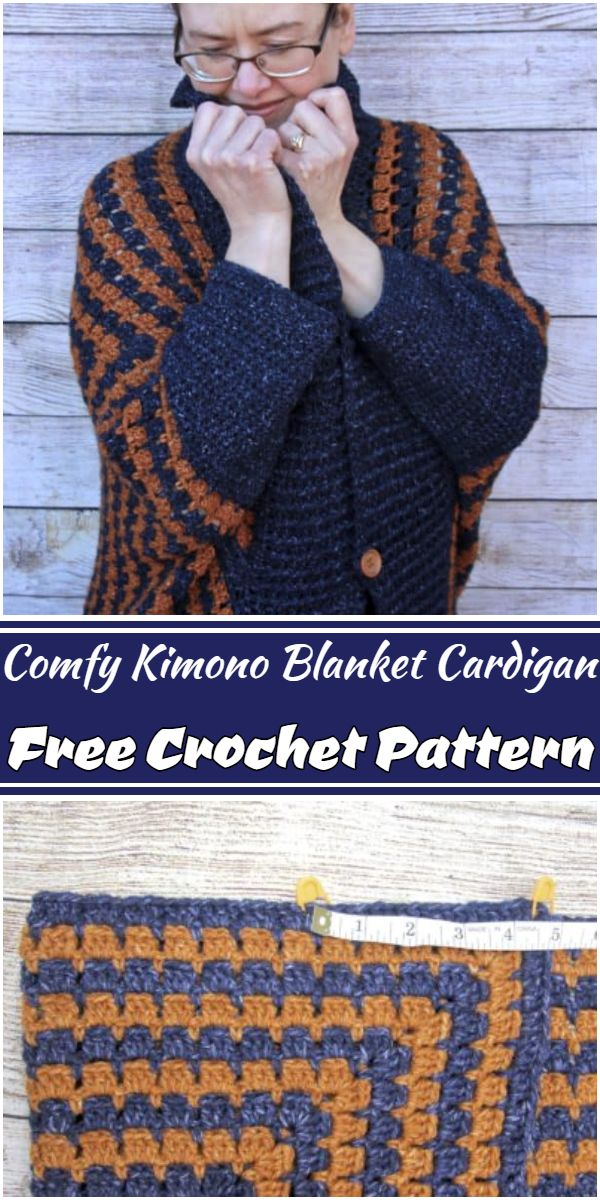 Free Crochet Comfy Kimono Blanket Cardigan Pattern