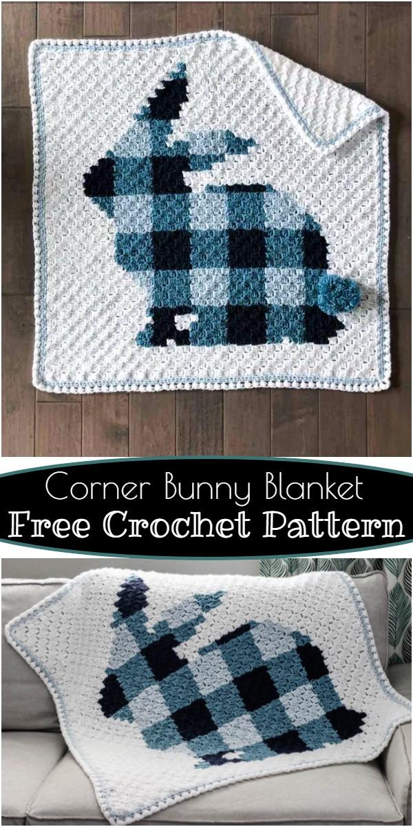 Free Crochet Corner Bunny Blanket Pattern