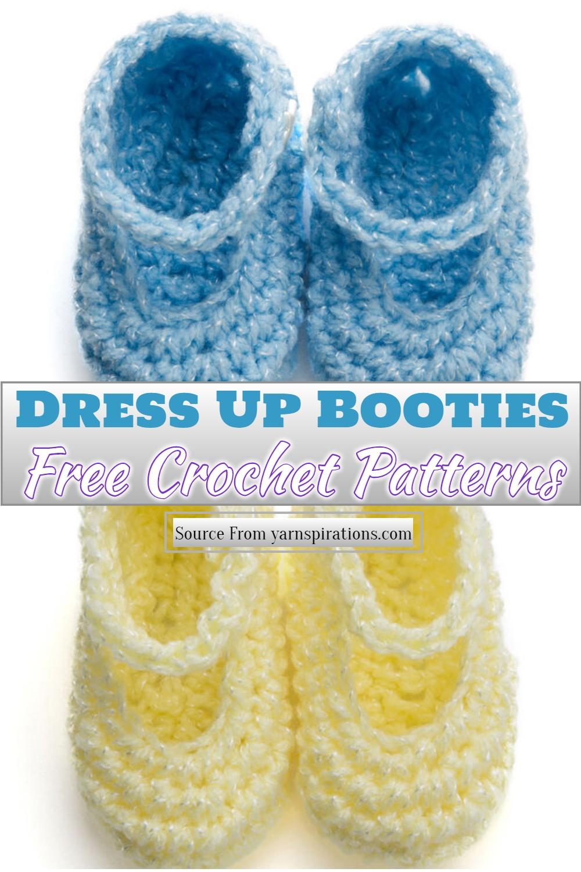 Free Crochet Dress Up Booties Pattern