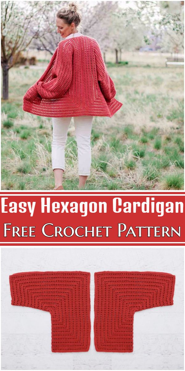 Free Crochet Easy Hexagon Cardigan Pattern