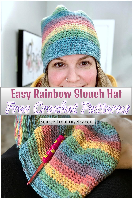Free Crochet Easy Rainbow Slouch Hat Pattern