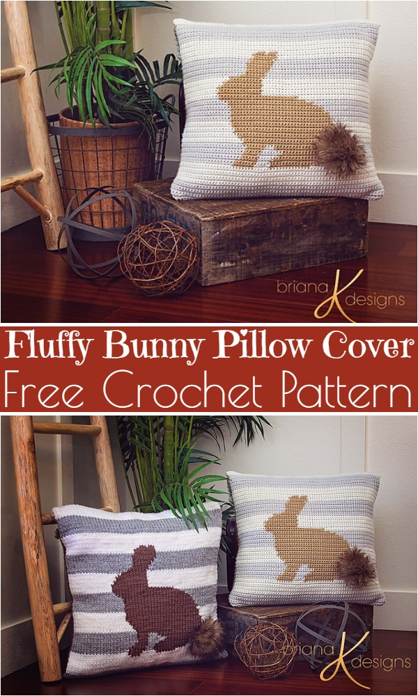 Free Crochet Fluffy Bunny Pillow Cover Pattern