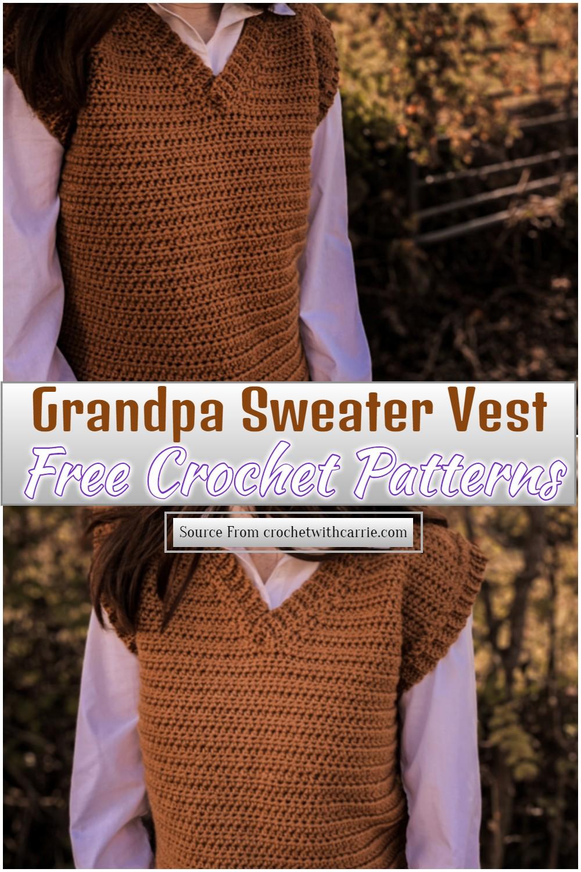 Free Crochet Grandpa Sweater Vest Pattern