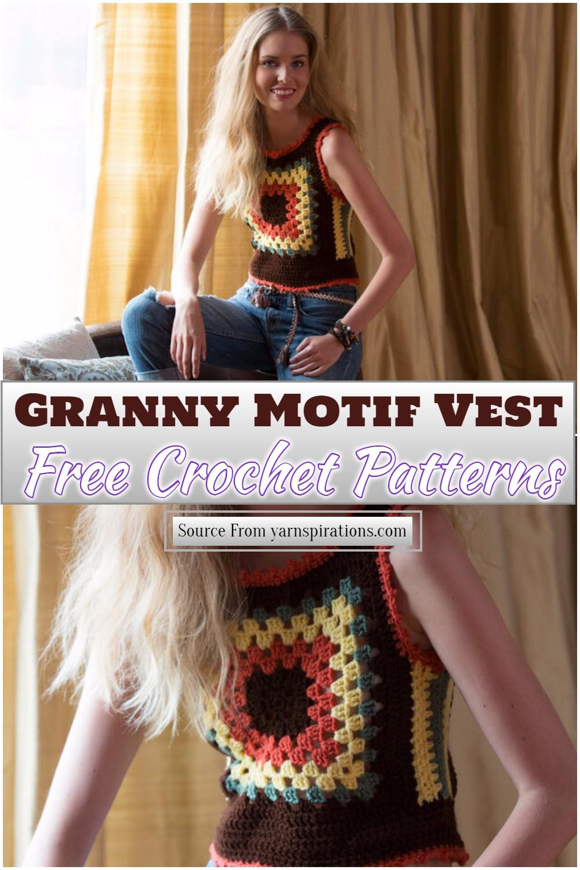 Free Crochet Granny Motif Vest Pattern