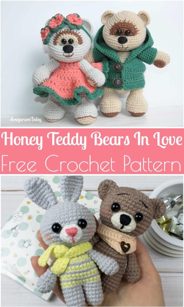 Free Crochet Honey Teddy Bears In Love Pattern