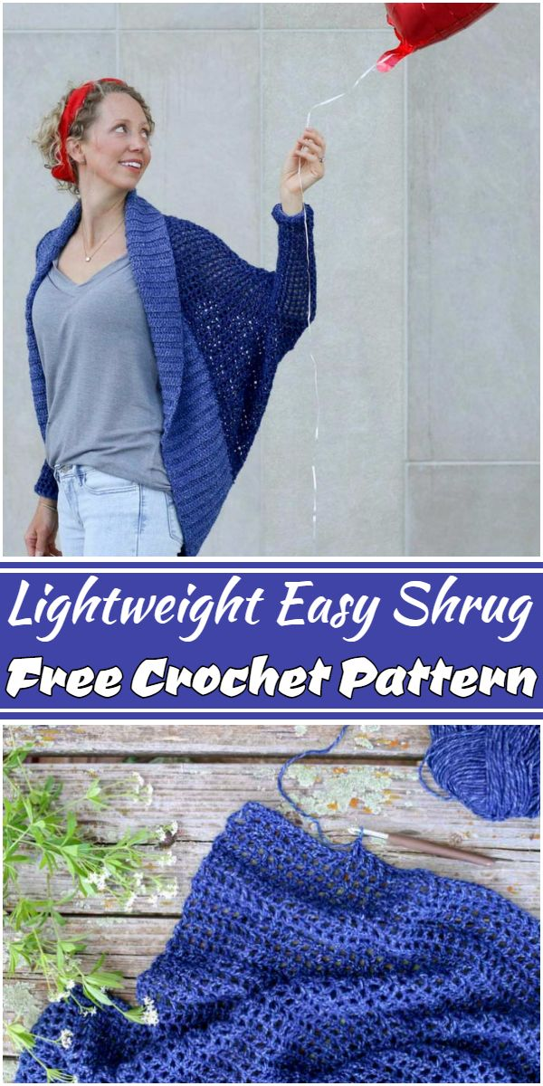 Free Crochet Lightweight Easy Shrug Pattern