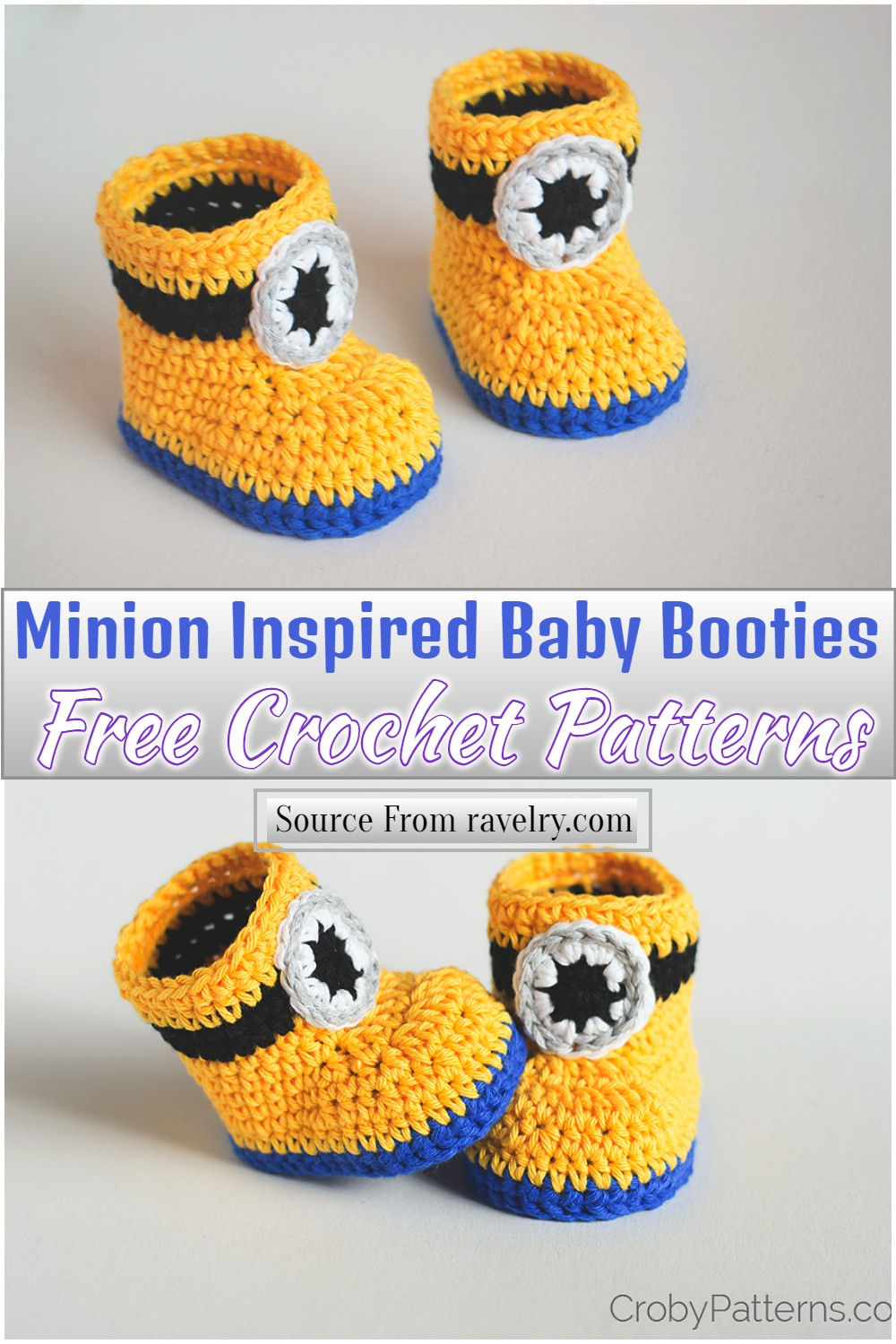 Free Crochet Minion Inspired Baby Booties Pattern
