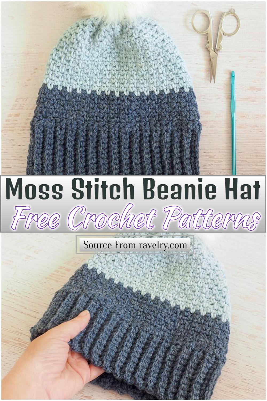 Free Crochet Moss Stitch Beanie Hat Pattern