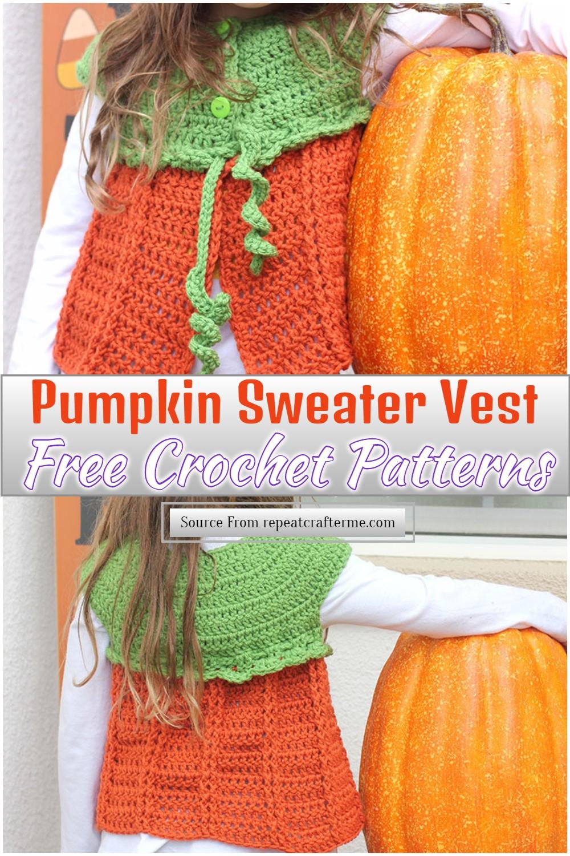 Free Crochet Pumpkin Sweater Vest Pattern