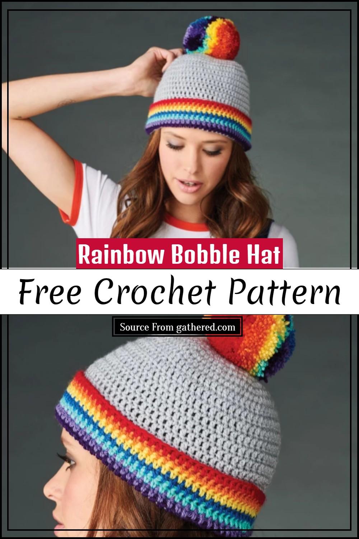 Free Crochet Rainbow Bobble Hat Pattern
