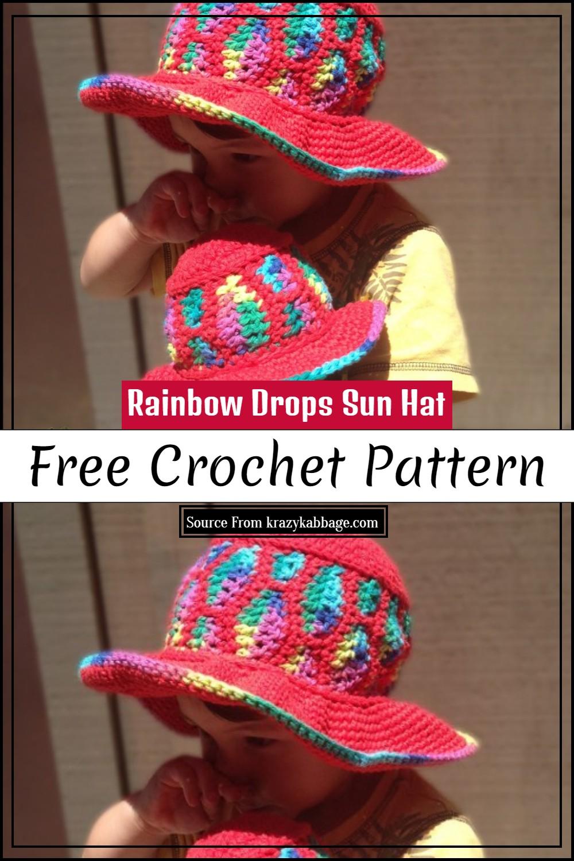 Free Crochet Rainbow Drops Sun Hat Pattern