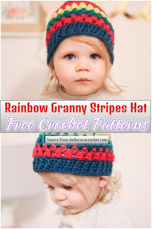 Free Crochet Rainbow Granny Stripes Hat Pattern