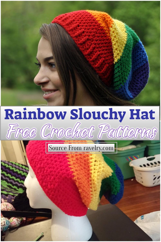 Free Crochet Rainbow Slouchy Hat Pattern