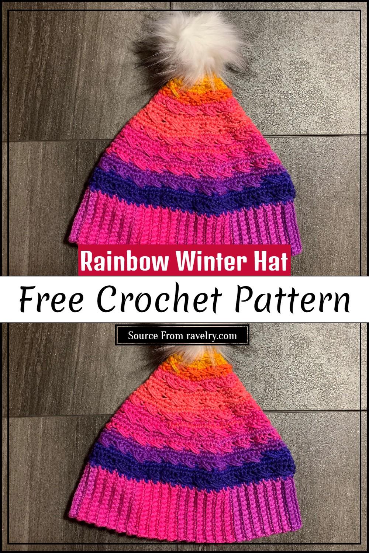 Free Crochet Rainbow Winter Hat Pattern