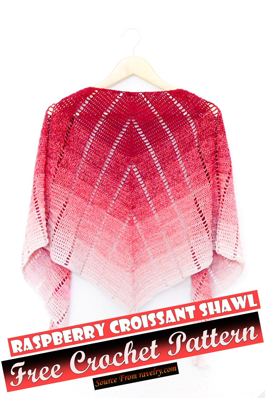 Free Crochet Raspberry Croissant Shawl Pattern
