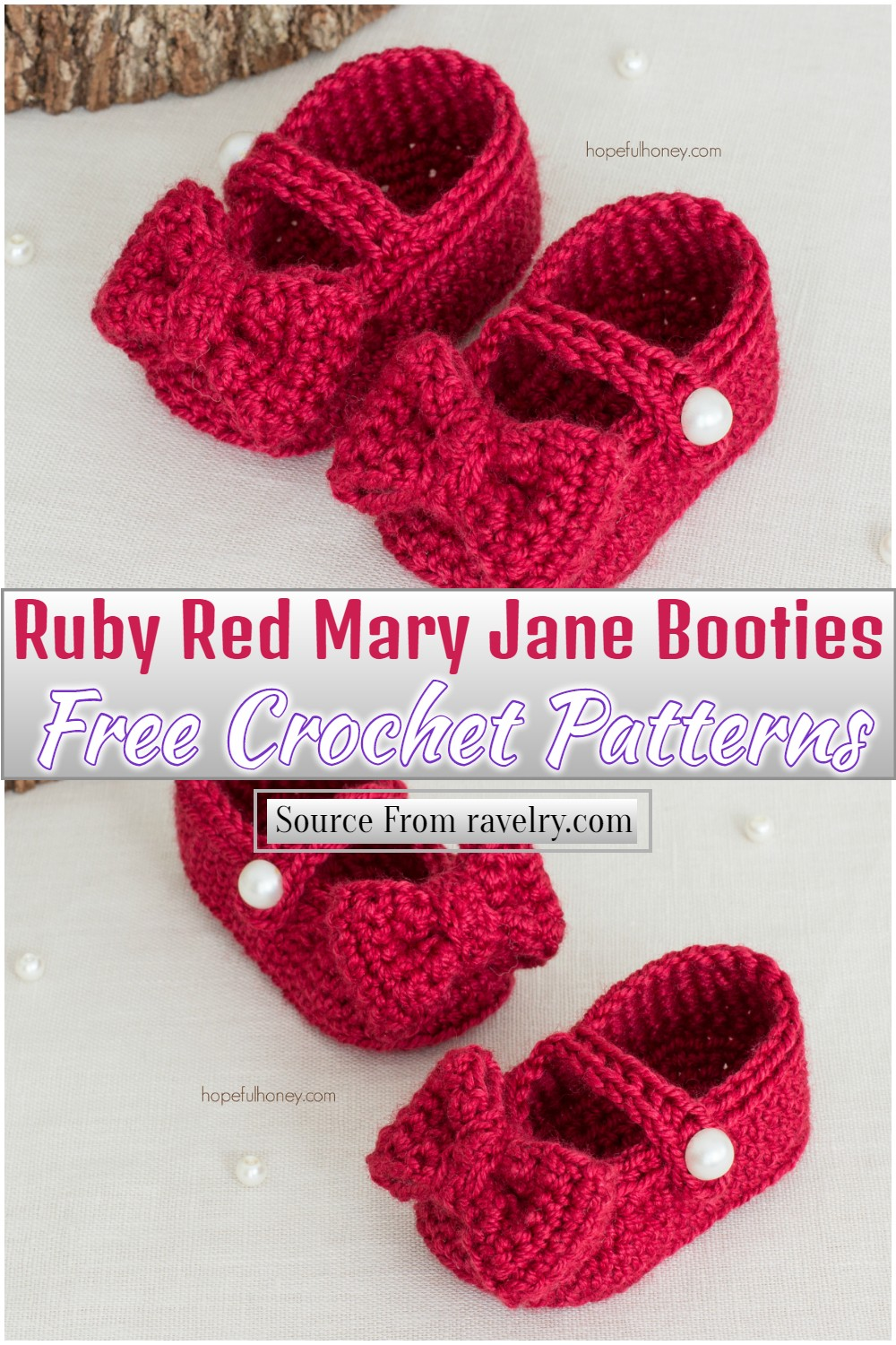 Free Crochet Ruby Red Mary Jane Booties Pattern