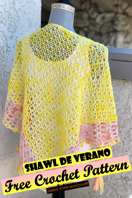 Free Crochet Shawl De Verano Pattern