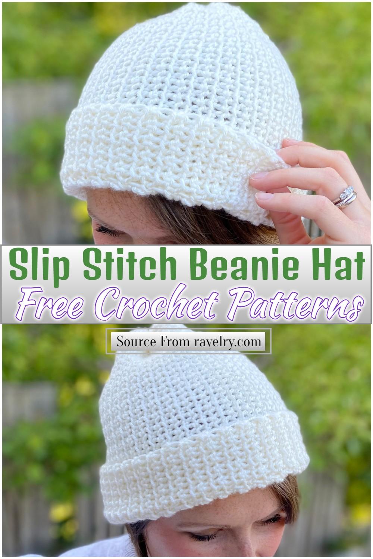 Free Crochet Slip Stitch Beanie Hat Pattern
