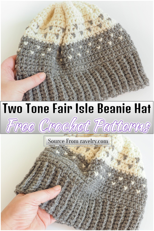 Free Crochet Two Tone Fair Isle Beanie Hat Pattern