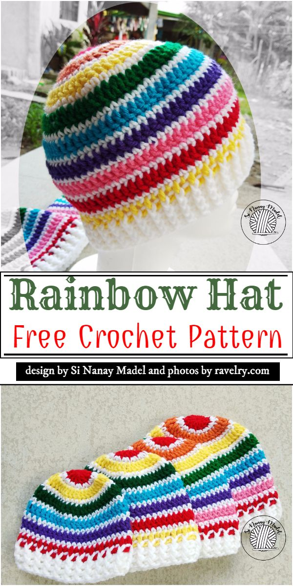 Free Rainbow Hat Crochet Pattern