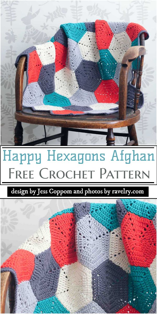 Happy Hexagons Afghan Crochet Pattern