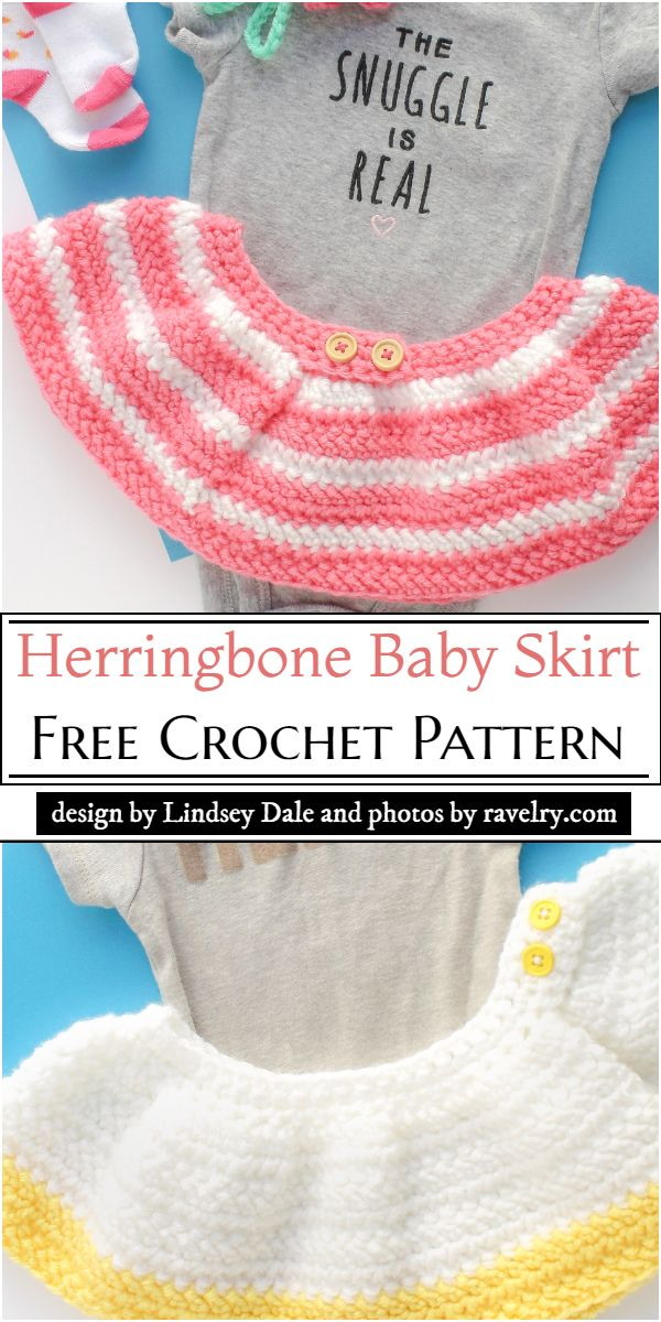 Herringbone Baby Skirt Crochet Pattern