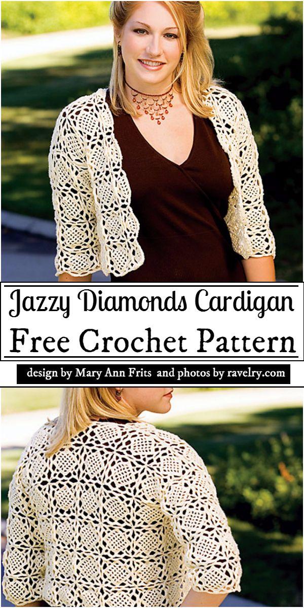 Jazzy Diamonds Cardigan Crochet Pattern