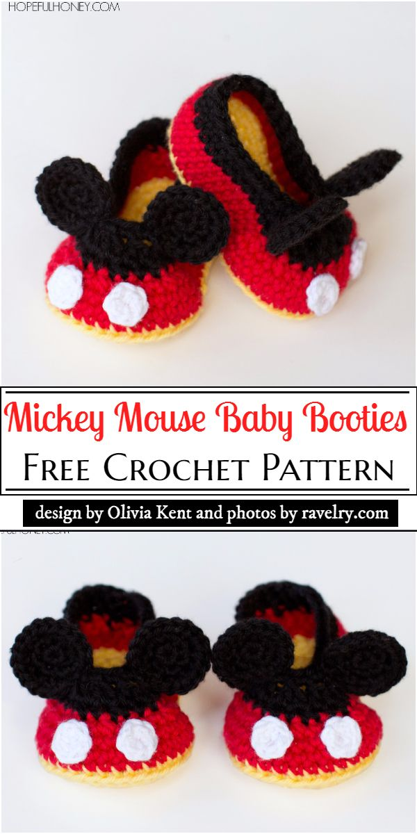 Mickey Mouse Baby Booties Crochet Pattern