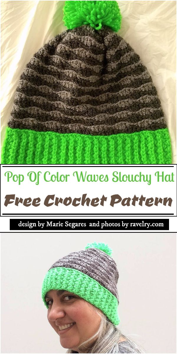 Pop Of Color Waves Slouchy Hat Crochet Pattern