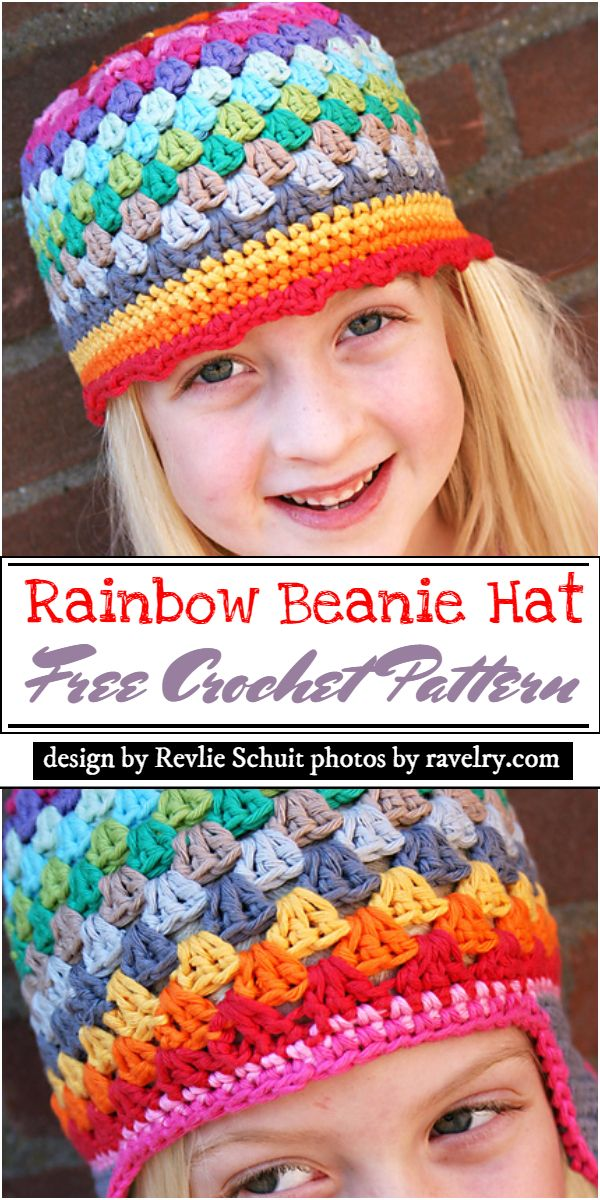 Rainbow Beanie Hat Crochet Pattern