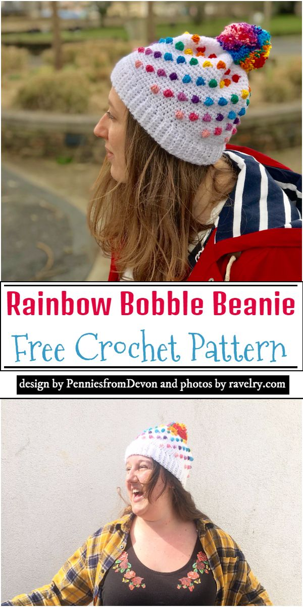 Rainbow Bobble Beanie Crochet Pattern