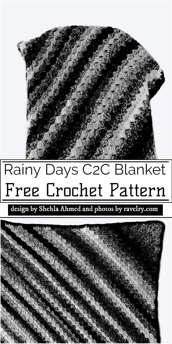 Rainy Days C2C Blanket Crochet Pattern