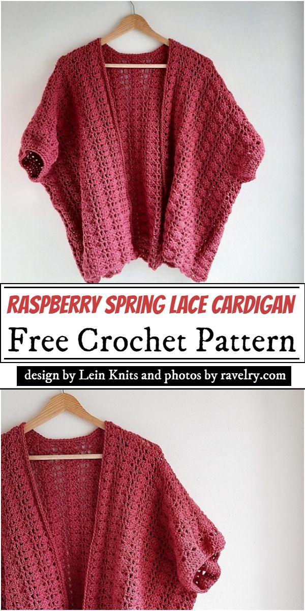 Raspberry Spring Lace Cardigan Crochet Pattern
