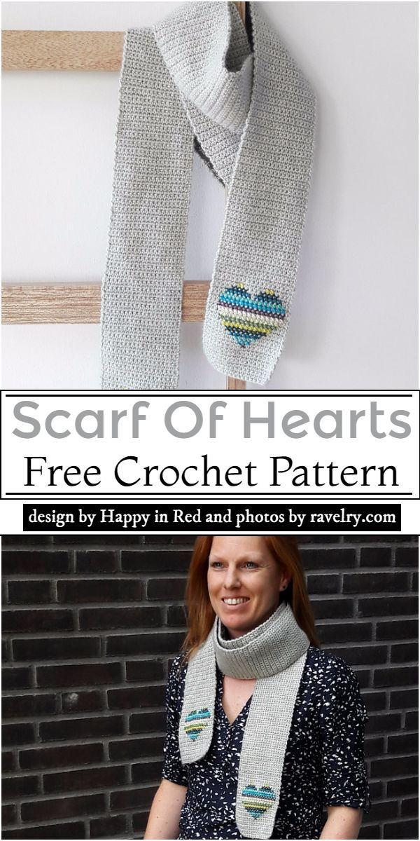 Scarf Of Hearts Crochet Pattern