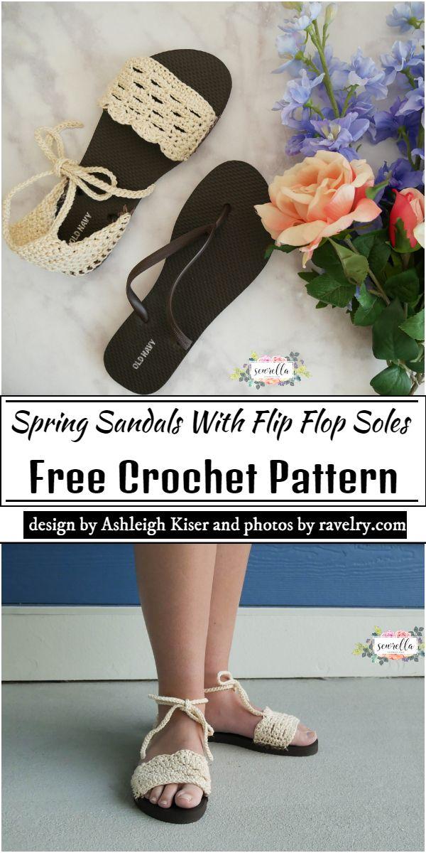 Spring Sandals With Crochet Flip Flop Soles Pattern
