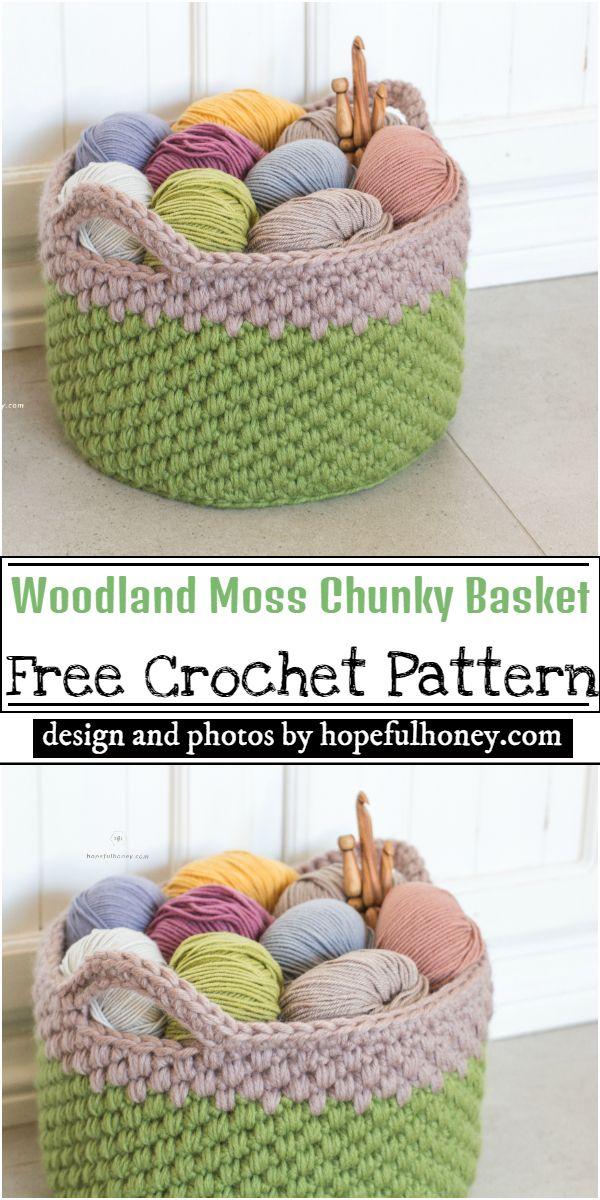 Woodland Moss Chunky Basket Crochet Pattern