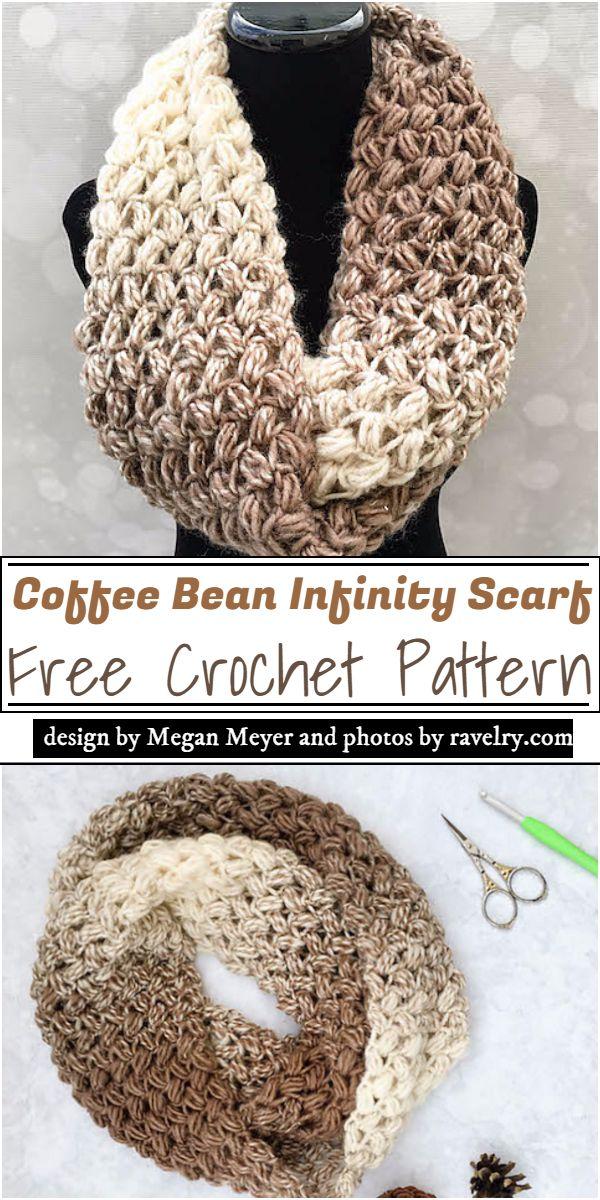 Coffee Bean Infinity Scarf Crochet Pattern
