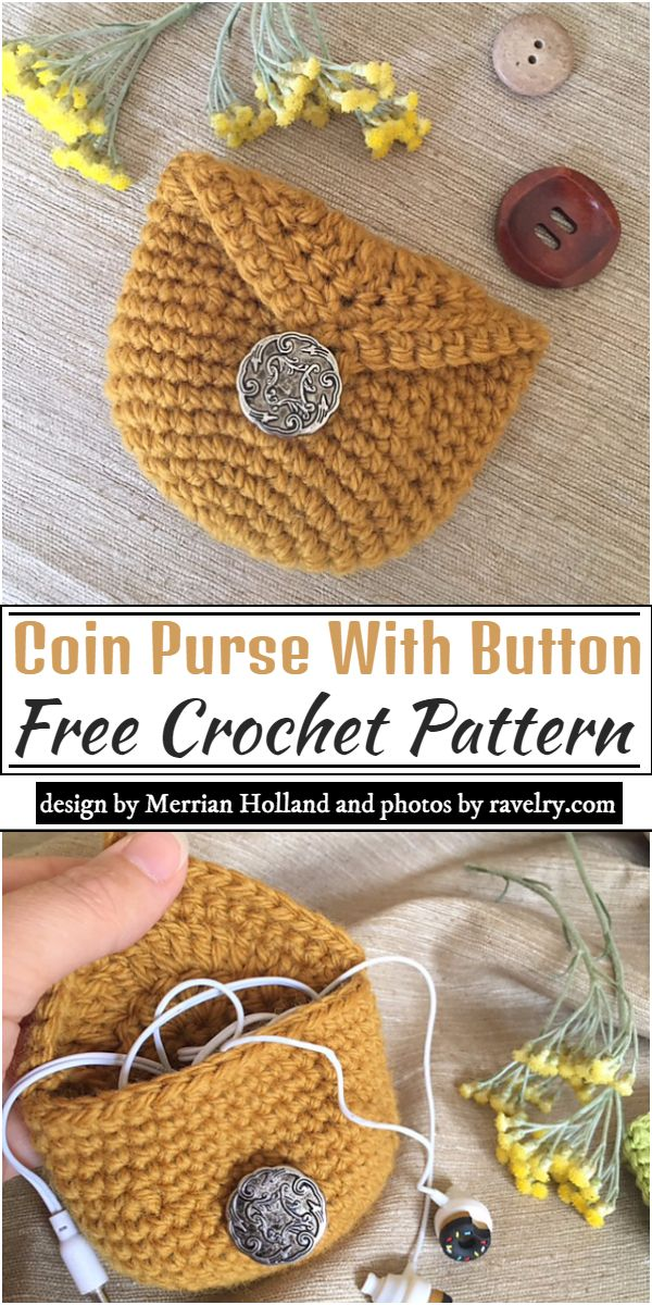 Coin Purse With Button Crochet Pattern