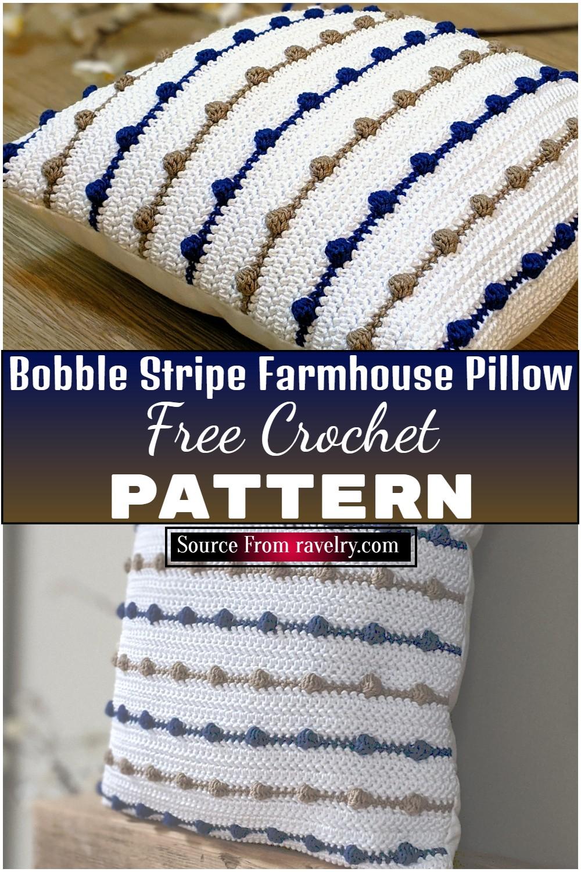 Crochet Bobble Stripe Farmhouse Pillow 1