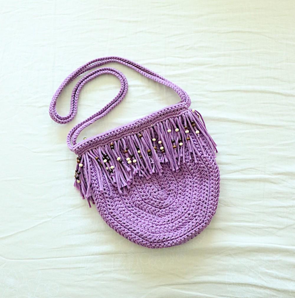 Crochet Purple Fringe Boho Purse